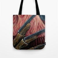 freddy krueger Tote Bags featuring FREDDY KRUEGER by chris zombieking