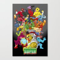 sesame street Canvas Prints featuring Super Sesame Street Fighter by gavacho13