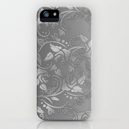 Luxury chic faux silver glitter floral iPhone Case