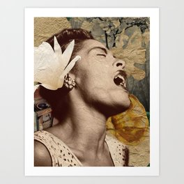 Billie Holiday Vintage Mixed Media Art Collage Art Print
