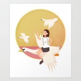 Fly Girl And White Swan Art Print