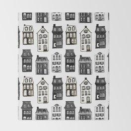 Mansard Mansions in Black + White Watercolor Throw Blanket
