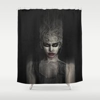 the thing Shower Curtains featuring Thing 1 by Spoken in Red