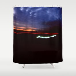 Night Lights Blue Clouds, Tail and Street Light Shower Curtain