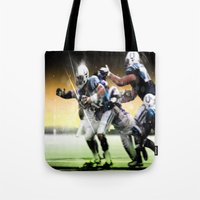 nfl Tote Bags featuring American Football by Gilles Rathé