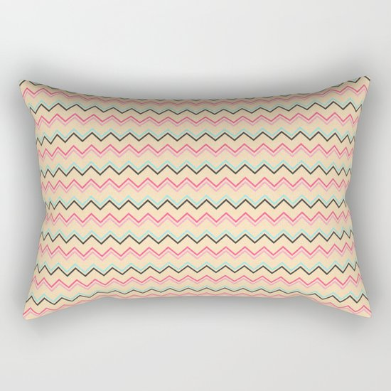 Pink And Blue Chevron Geometric Pattern Rectangular Pillow