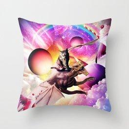 Space Cat Riding Dragon - Milkshake Rainbow Throw Pillow