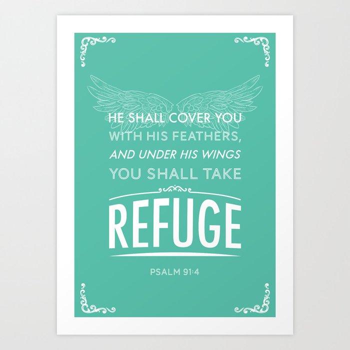 Typography Motivational Christian Bible Verses Poster - Psalm 91:4 Art Print