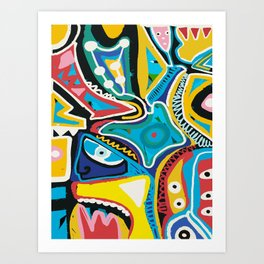 African Graffiti Art Pattern by Emmanuel Signorino Art Print