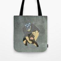 wrestling Tote Bags featuring Alligator wrestling by Aquamarine Studio