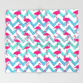 Go Flamingo! Tropical Pink Neon Flamingos Teal Glitter Chevron Throw Blanket