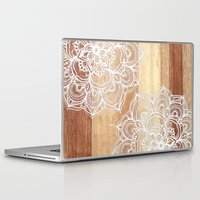 marine Laptop & iPad Skins featuring White doodles on blonde wood - neutral / nude colors by micklyn