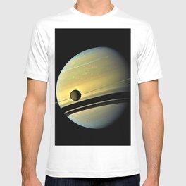 Saturn and its Moon Titan in Orbit Telescopic Photograph T-shirt