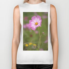 Pink and White Cosmos Biker Tank