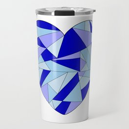 Fractal Blue Heart Travel Mug