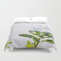 titan Duvet Covers featuring White Titan by Jenny Henderson Studio