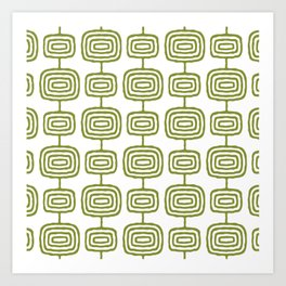 Mid Century Modern Atomic Rings Pattern Olive Green 3 Art Print