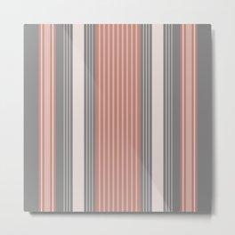 Ticking Stripe in Coral Metal Print