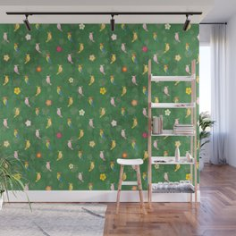 Tiki Birds - Green Pattern Wall Mural