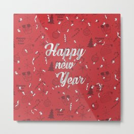 Happy holiday, Christmas sign with snow flake and christmas decoration on the red background Metal Print