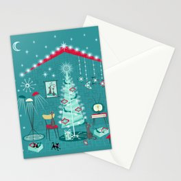 Retro Holiday Decorating ii Stationery Cards