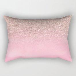 Modern rose gold glitter ombre hand painted pink watercolor Rectangular Pillow