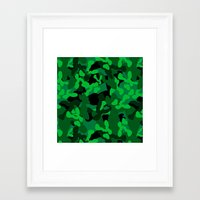 camouflage Framed Art Prints featuring Camouflage (Green) by 10813 Apparel