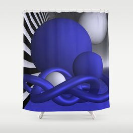 knots and spheres - blue Shower Curtain