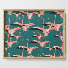 tropical flamingos Serving Tray