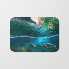 Palm Tree - Waves - Turtles - Beach - Ocean Bath Mat