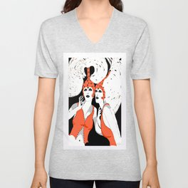 Woman Flappers Unisex V-Neck