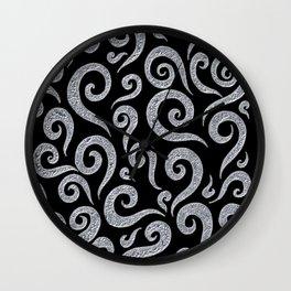Silver Metallic Swirls Pattern Wall Clock