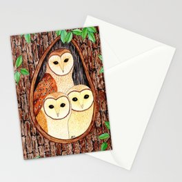 Barn Owl Family Stationery Cards