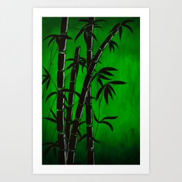 green bamboo graphic silhouette Art Print