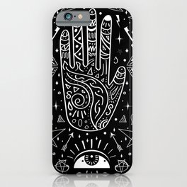 Black background occult pattern with mystical chalk signs iPhone Case