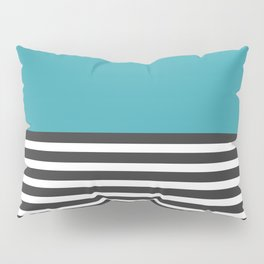 Half Striped Gray - Solid Turquoise Pillow Sham