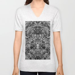 Mirrored Black and White Cityplan Unisex V-Neck