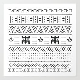 Black and white tribal ethnic pattern with geometric elements, traditional African mud cloth, tribal Art Print