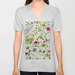 Leaves and flowers pattern (27) Unisex V-Neck