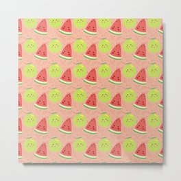 Funny cute lime green red coral watermelon fruit pattern Metal Print