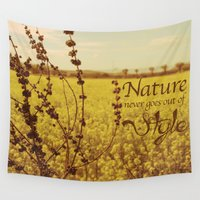 plant Wall Tapestries featuring Mustard plant by Graphic Tabby