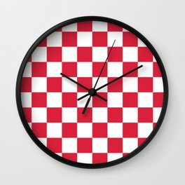 Red, Cherry: Checkered Pattern Wall Clock