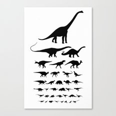 Dinosaur Eye Chart (monochrome) Cretaceous and Jurassic periods Canvas Print