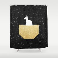 pocket Shower Curtains featuring ANIMAL POCKET by Marg