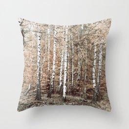 birch forest Throw Pillow