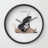 sneaker Wall Clocks featuring The Sneaker by rob art | illustration