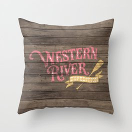 Western River Expedition Throw Pillow