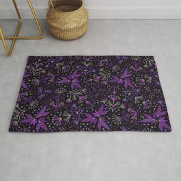 Purple Night Glow Flower Meadow , Rich Fuchsia Pink and Lilac Blooms Glowing in the Dark Black Night Rug