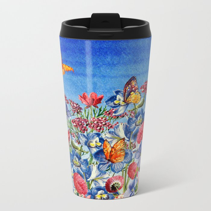 Summer Flower Meadow - Watercolor illustration Metal Travel Mug