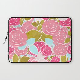 Pink Roses with Aqua & Gold Chic Watercolor Floral Laptop Sleeve